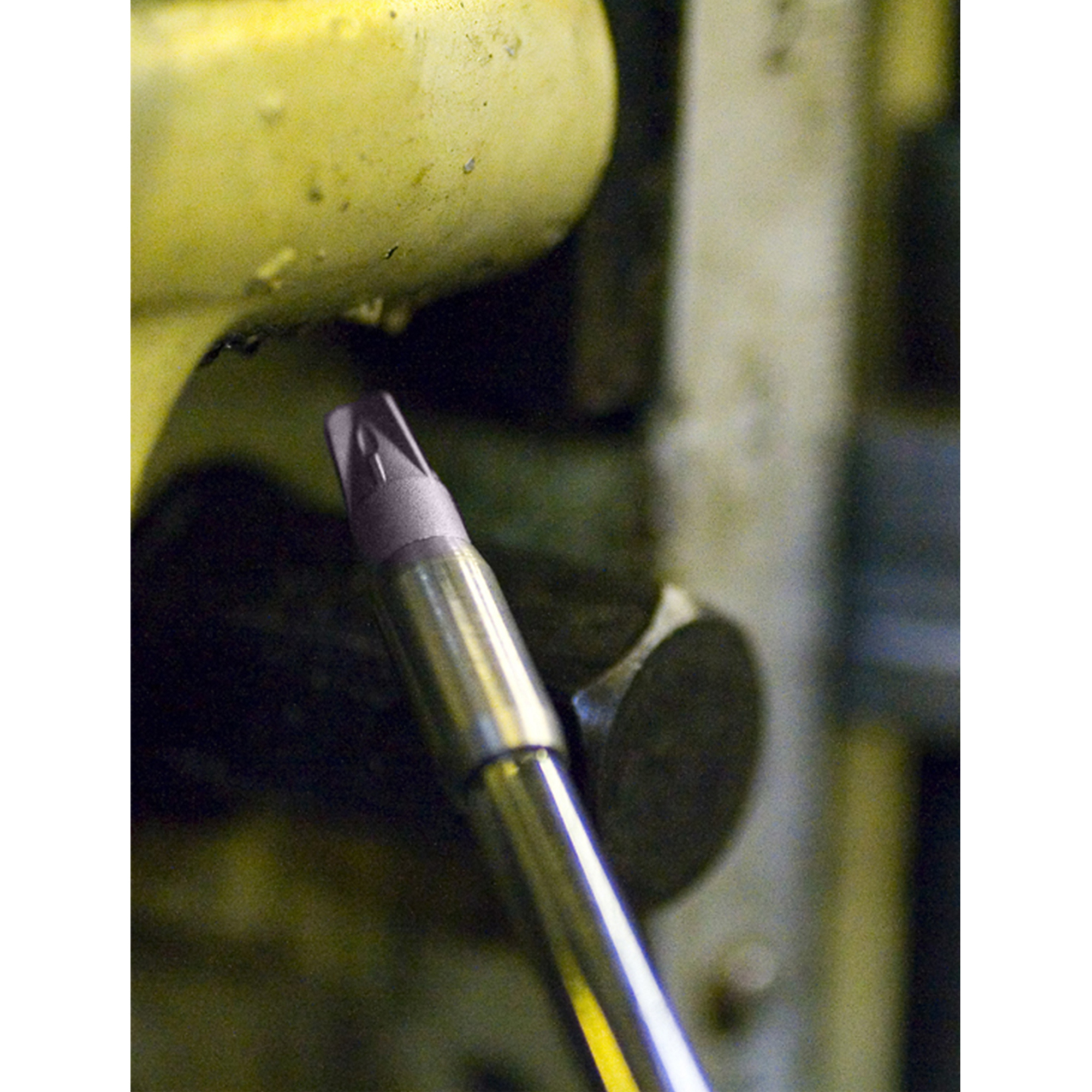 Stainless Steel Nano Super Air Nozzle operating in a tight machine space.