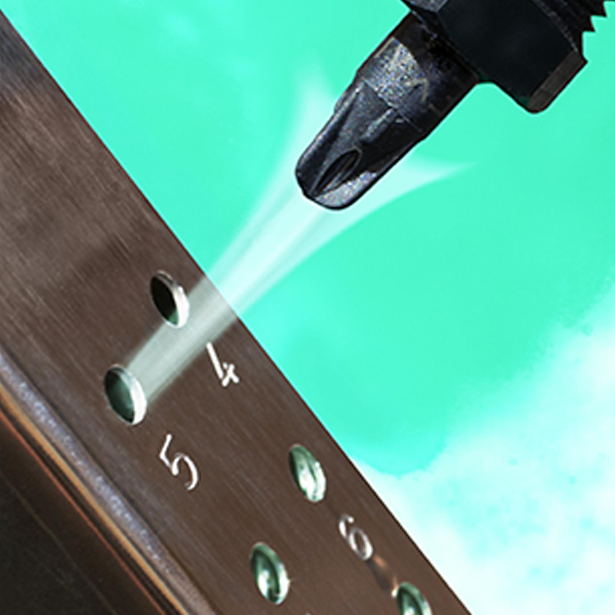 This PEEK Pico Super Air Nozzle is blowing dust and debris from this metal punching operation.
