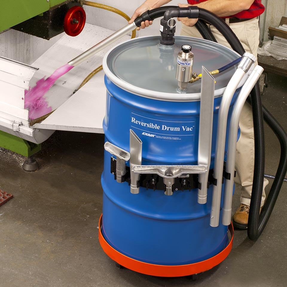 Premium Reversible Drum Vac Systems include the drum, drum dolly, an upgrade to heavy duty aluminum tools, ABS spill recovery kit, tool holder and air hose.