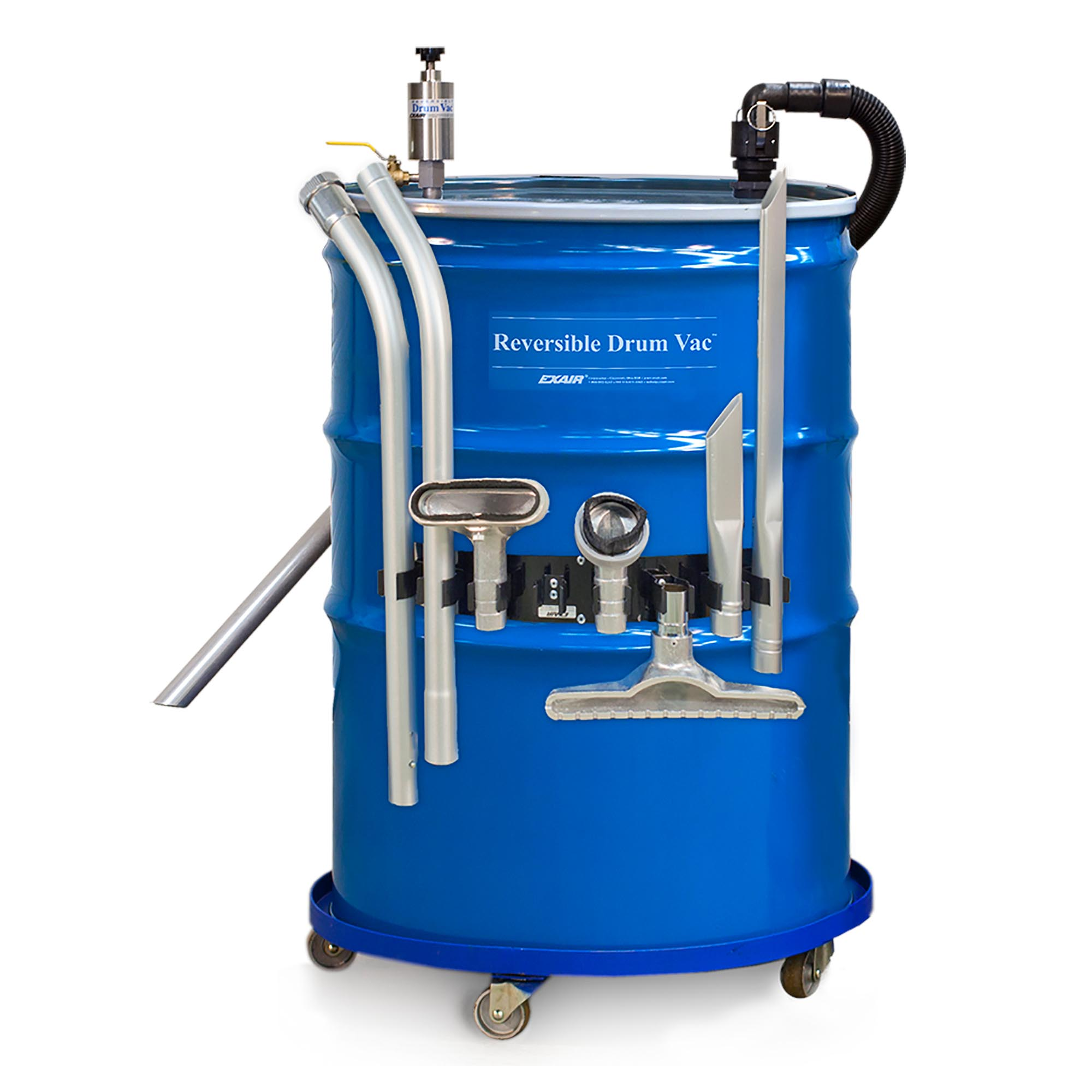 EXAIR's 110-Gallon Reversible Drum Vac is a powerful liquid vacuum and the ideal way to vacuum coolant, hydraulic oils, spills, sludge, tramp oil and waster water.