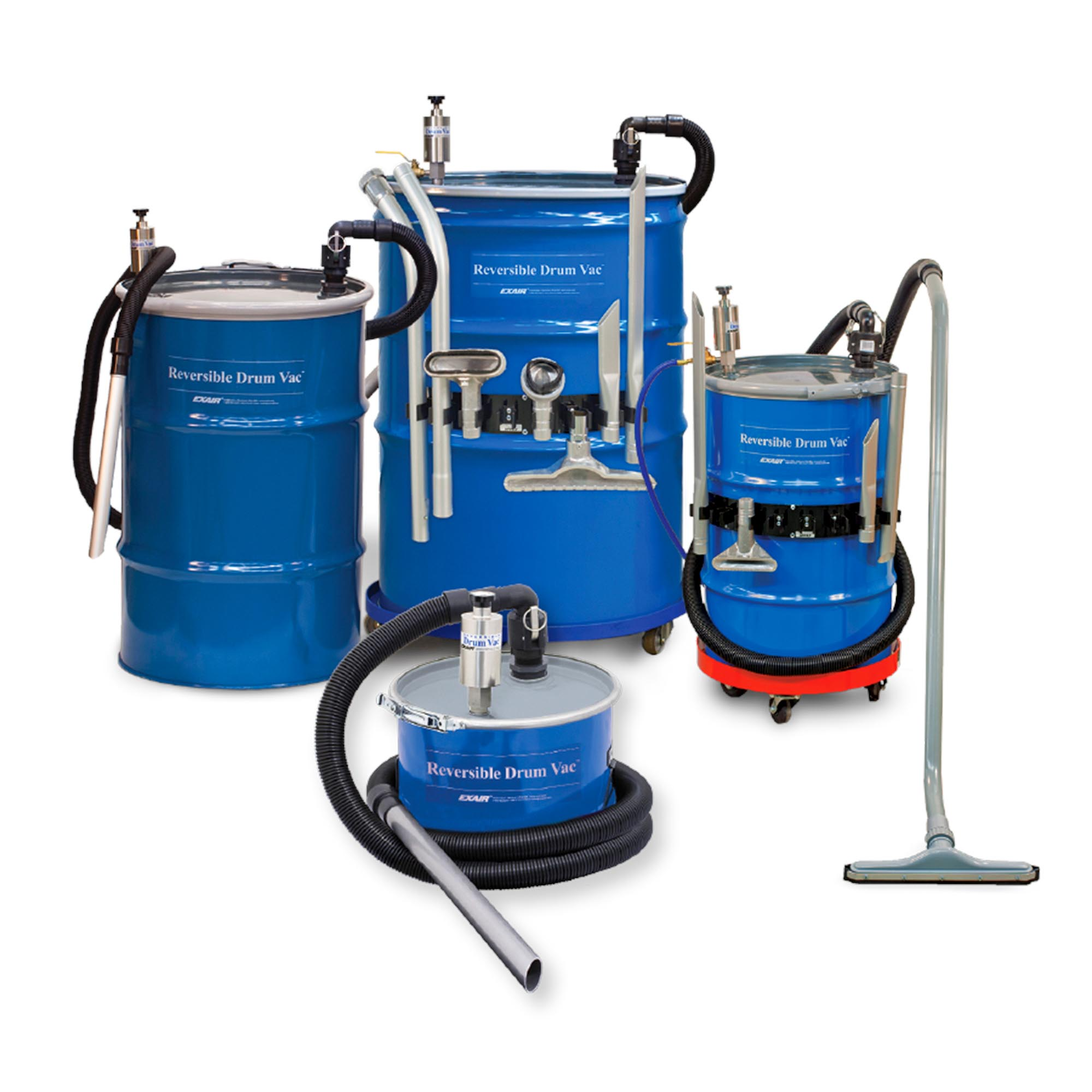 Reversible Drum Vac Systems are available in 5, 30, 55 and 110 gallon sizes.