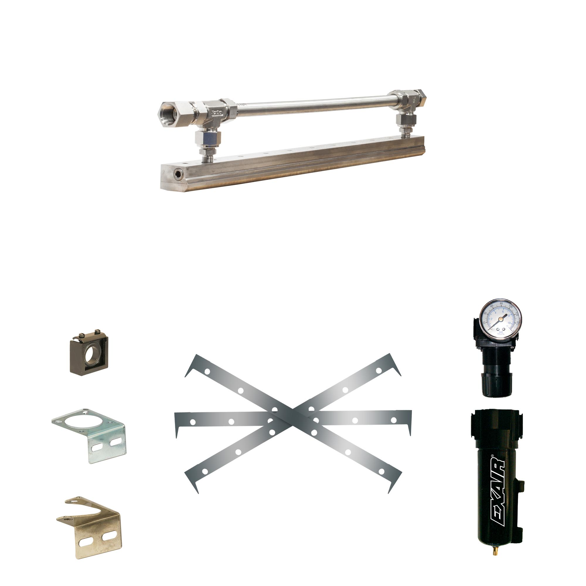 Stainless Steel Super Air Knife Kit with Plumbing Kit installed