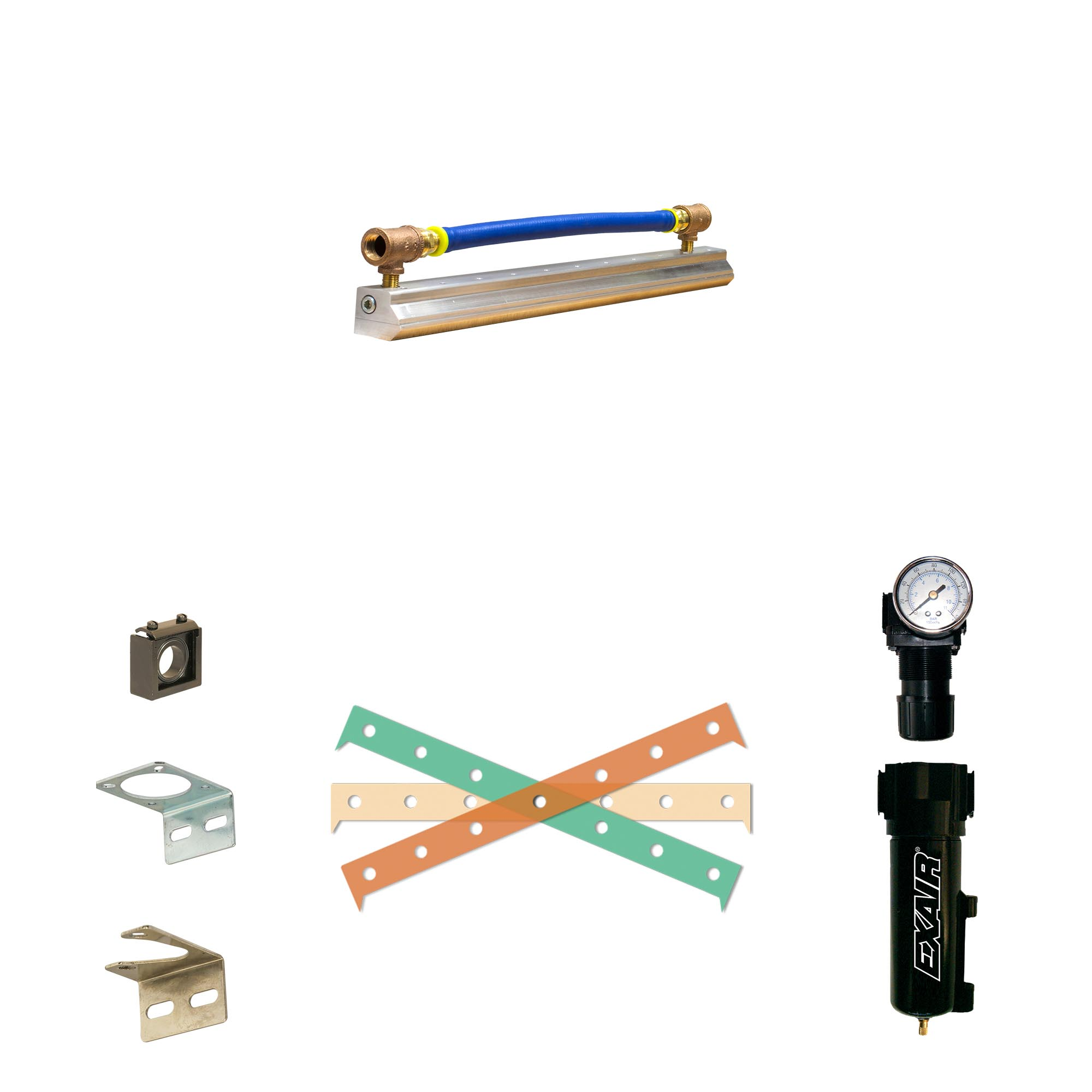 Super Air Knife Kits with Plumbing Kit installed prevent the search for fittings and correctly sized supply hose.