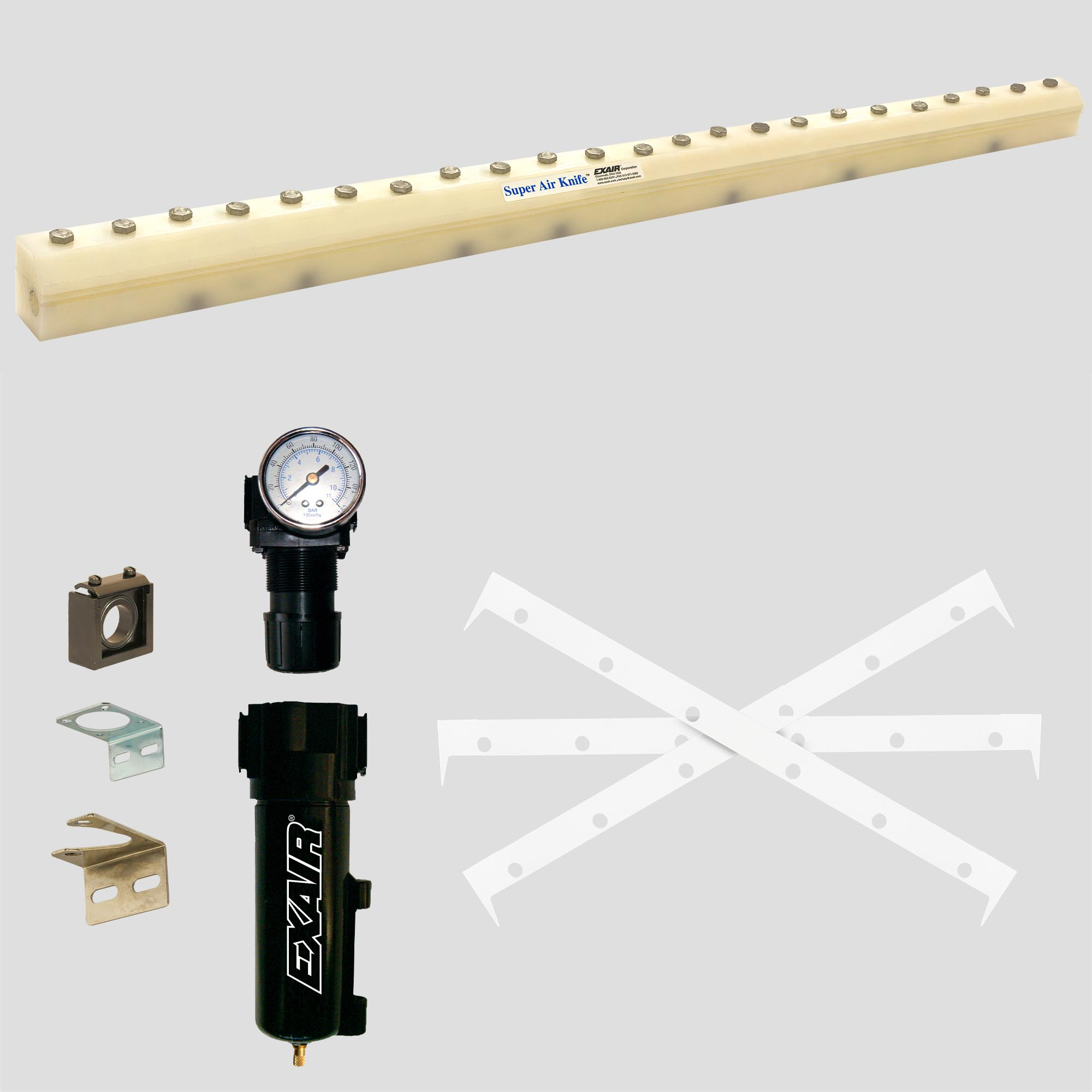 PVDF Super Air Knife Kit includes PTFE shims, filter and pressure regulator.