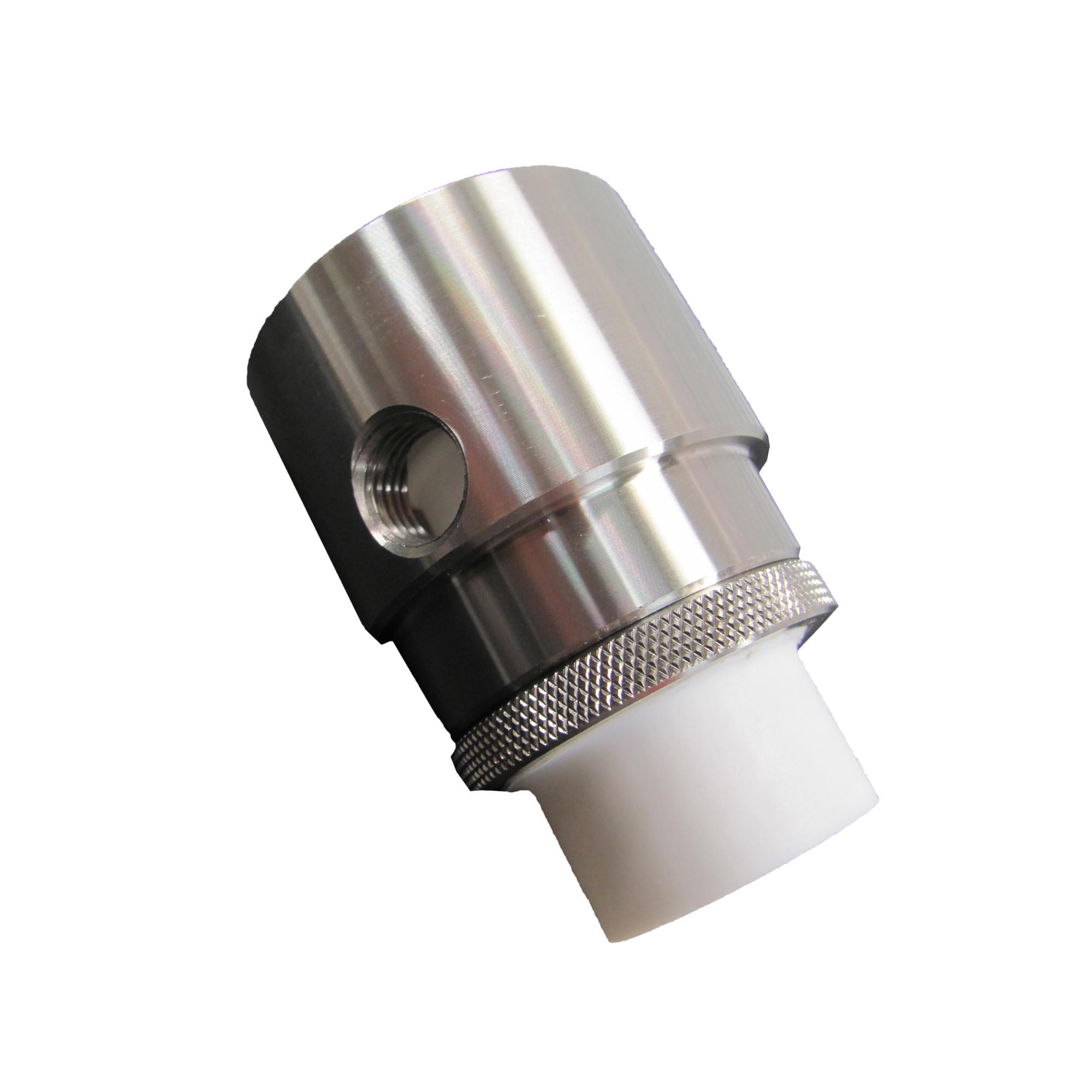 The airflow from this stainless steel Adjustable Air Amplifier with PTFE plug helped pull a sticky material through a process and prevented the material from depositing on the Air Amplifier.