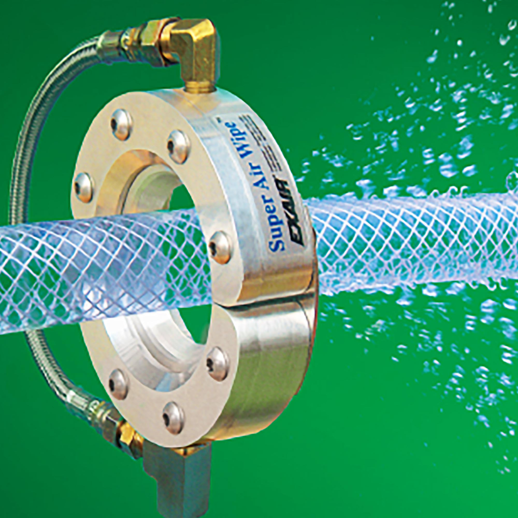 """This 1/2"""" Super Air Wipe dries a wire as it exits a cooling bath."""