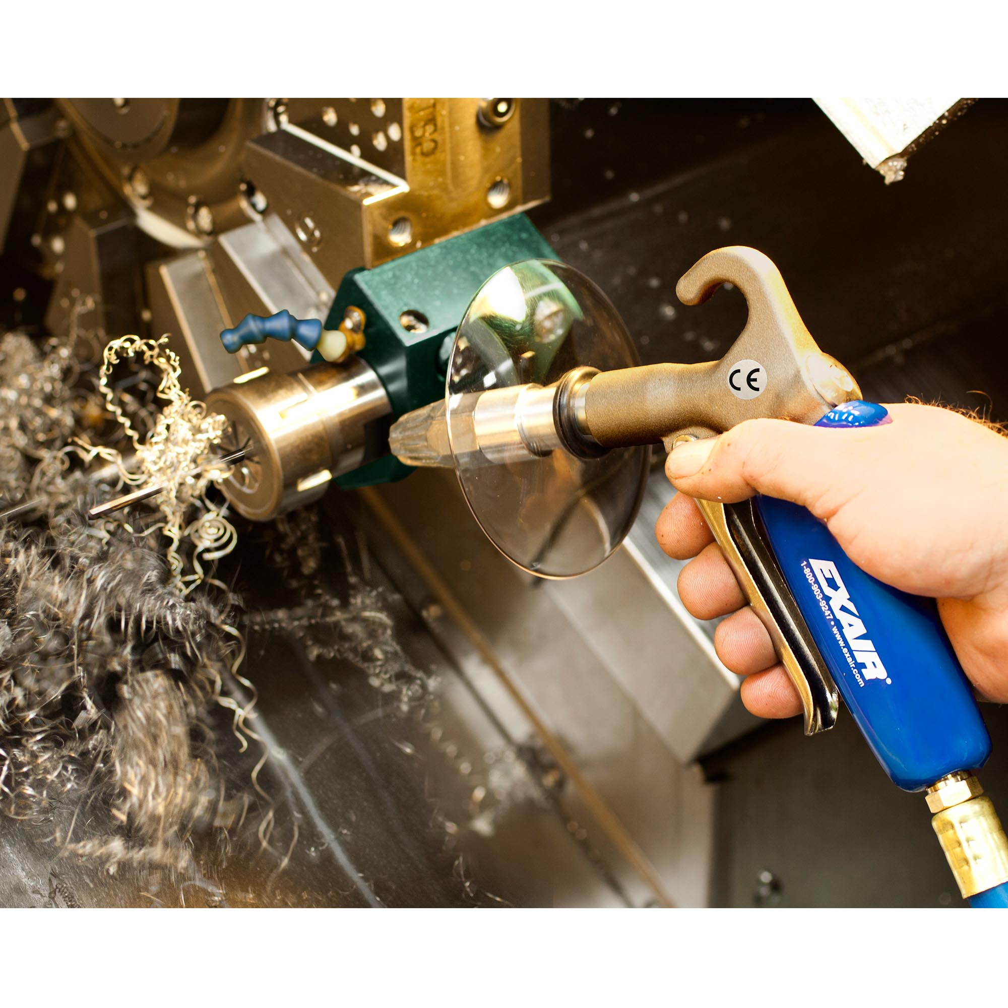 This Soft Grip Safety Air Gun is being used to blow swarf out of a CNC machine.