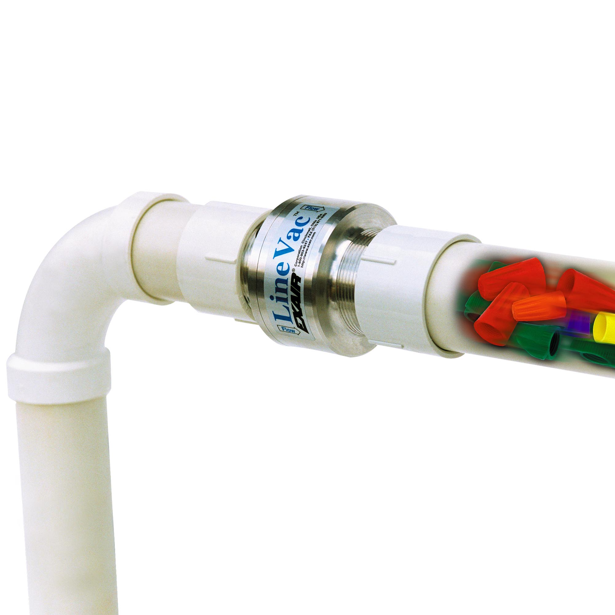 This Threaded Line Vac is conveying toy blocks through common PVC pipe.