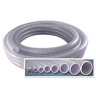 "EXAIR stocks PVC conveying hose in 3/8"", 1/2"", 3/4"", 1"", 1-1/4"", 1-1/2"", 2"", 2-1/2"" and 3"" I.D. for use with your Line Vac."