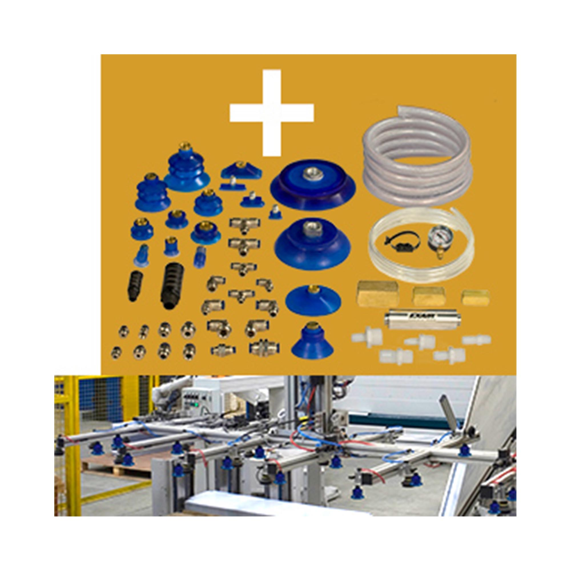 Many accessories are available for E-Vacs including suction cups, fittings and vacuum tubing