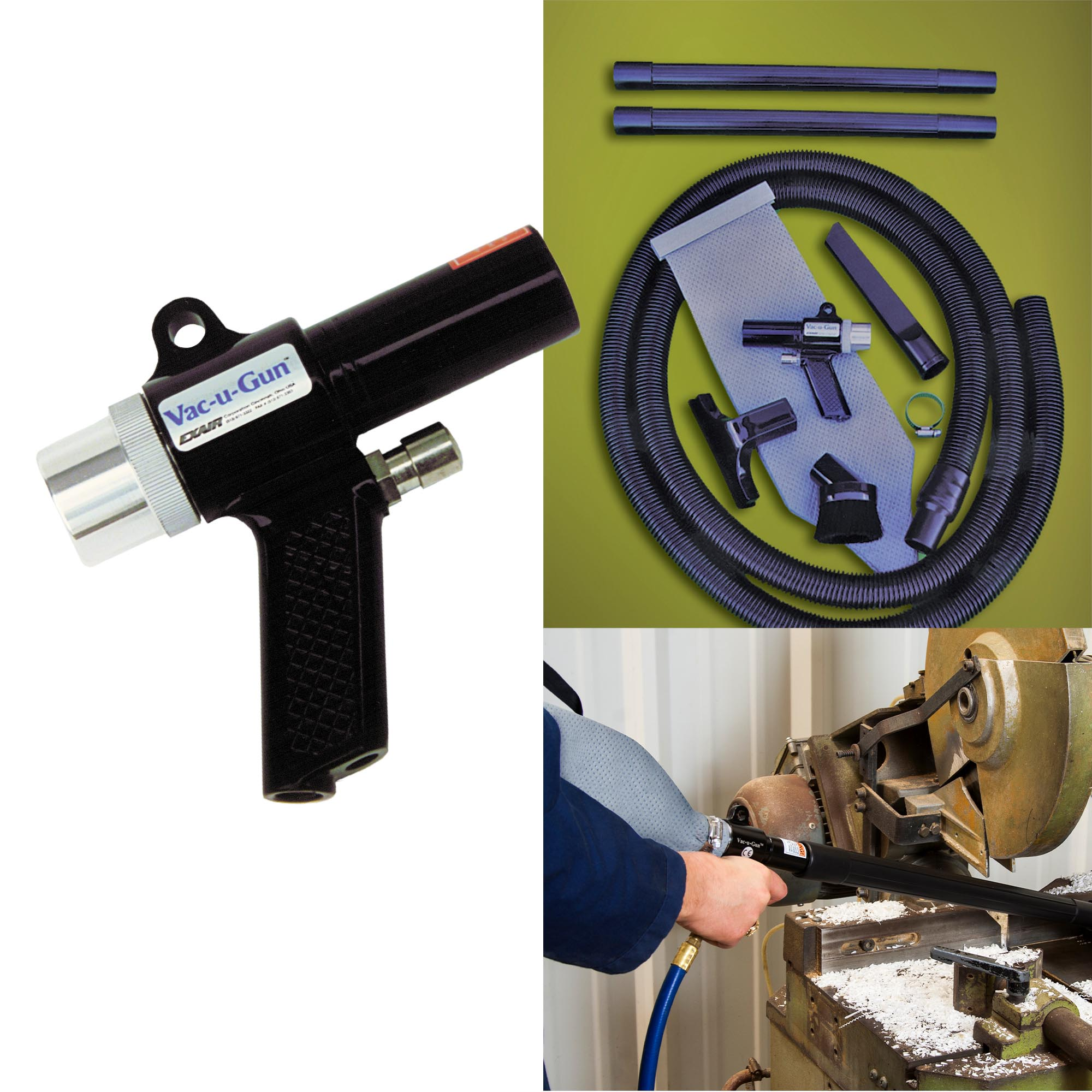 Vac-u-Gun Accessories include filter bags, vacuum hoses, crevice tools, skimmer tools, brush attachments and extensions.